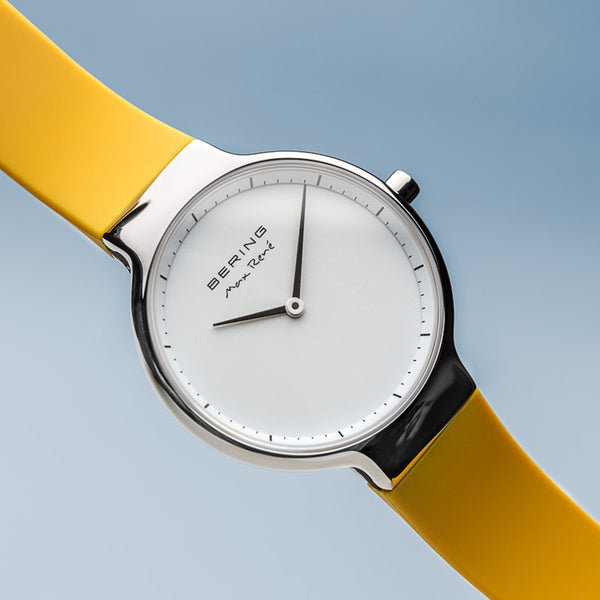 Bering Max René Polished Silver and Yellow Watch 31mm