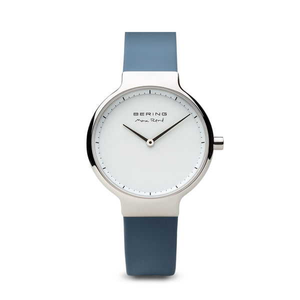 Bering Max René Polished Silver and Blue Watch 31mm