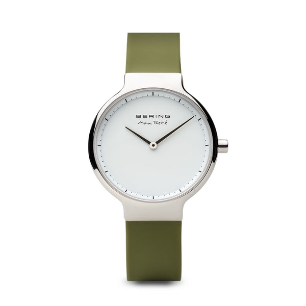Bering Max René Polished Silver and Green Watch 40mm