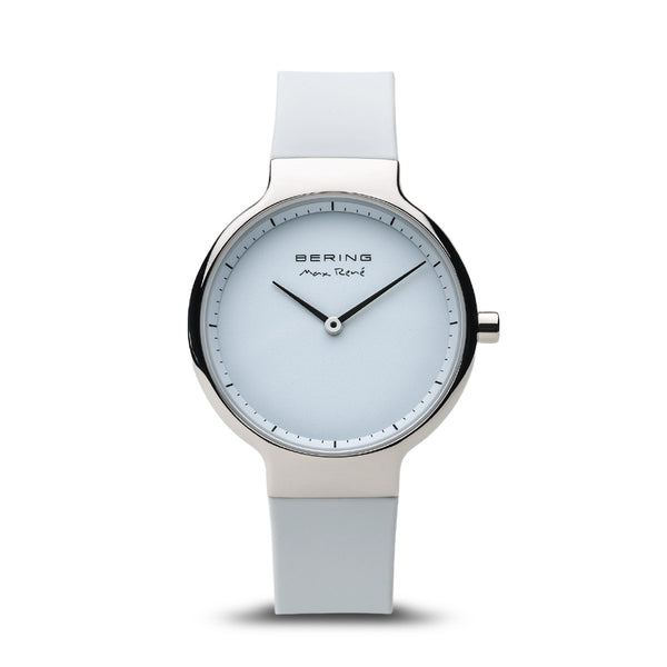Bering Max René Polished Silver and White Watch 31mm
