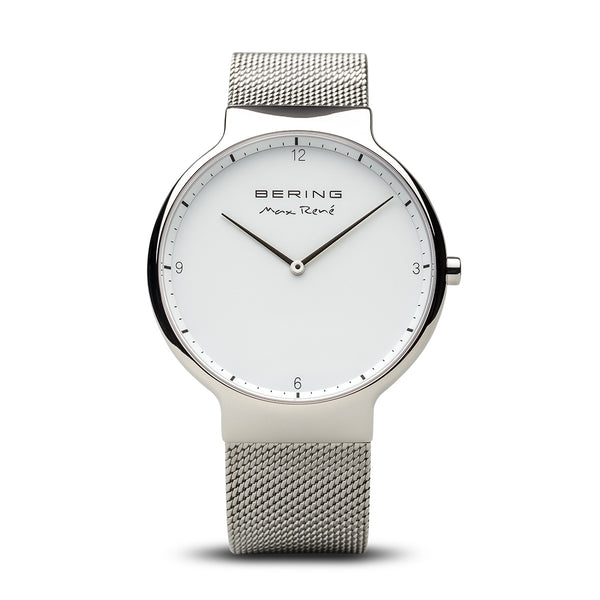 Bering Max René Polished Silver Watch 40mm