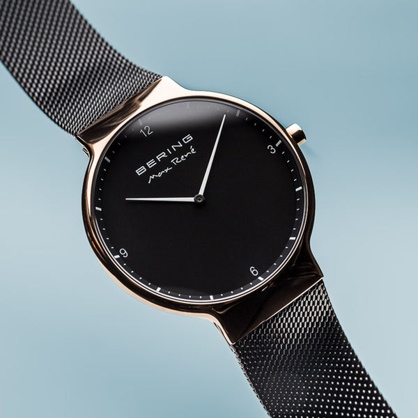 Bering Max René Polished Rose Gold and Black Watch 40mm
