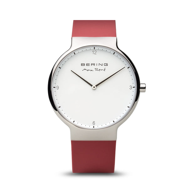 Bering Max René Polished Silver and Red Watch 40mm