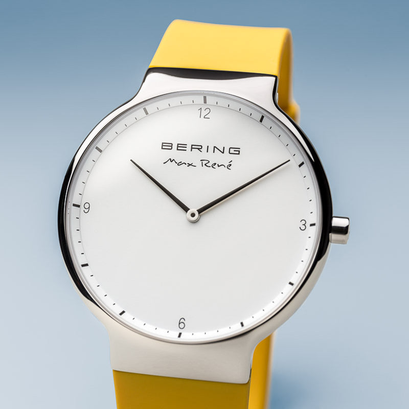 Bering Max René Polished Silver and Yellow Watch 40mm