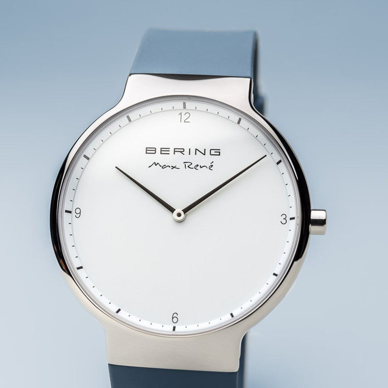 Bering Max René Polished Silver and Blue Watch 40mm