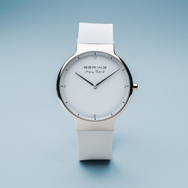 Bering Max René Polished Silver and White Watch 40mm