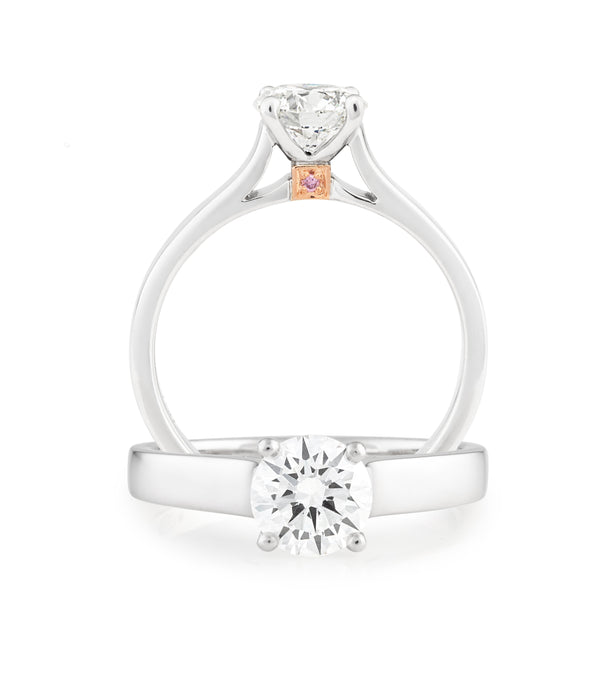 PINK CAVIAR 0.51ct White Round Brilliant Cut & Pink Diamond Engagement Ring in 18ct White Gold