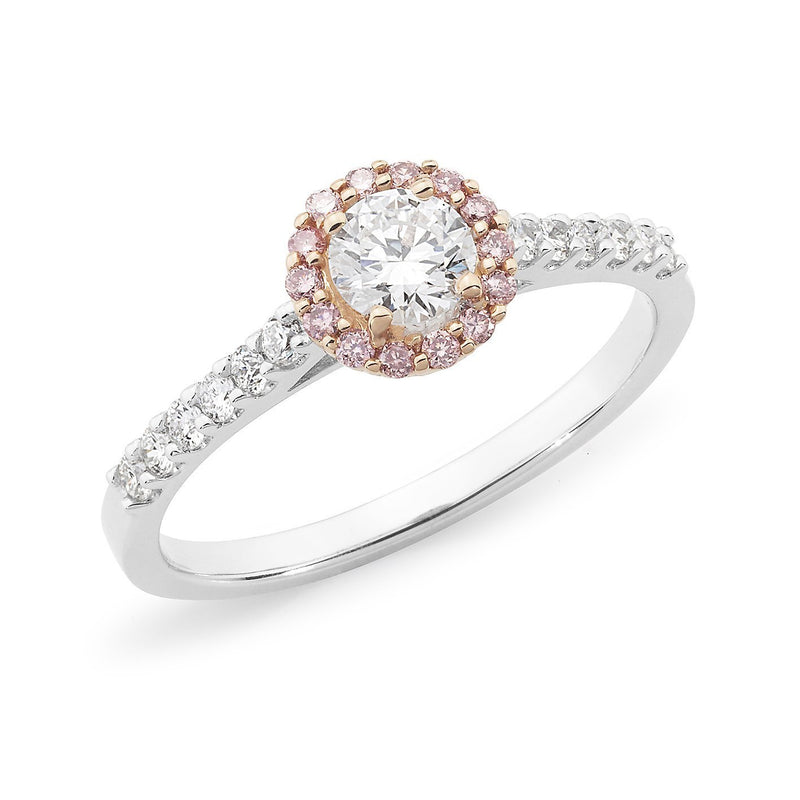 PINK CAVIAR 0.615ct White Round Brilliant Cut & Pink Diamond Halo Engagement Ring in 18ct White Gold