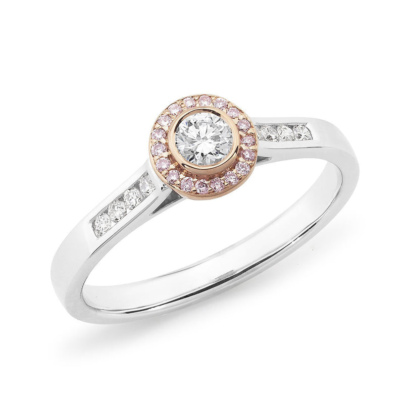 PINK CAVIAR 0.34ct Pink Diamond Halo Ring in 18ct White & Rose Gold