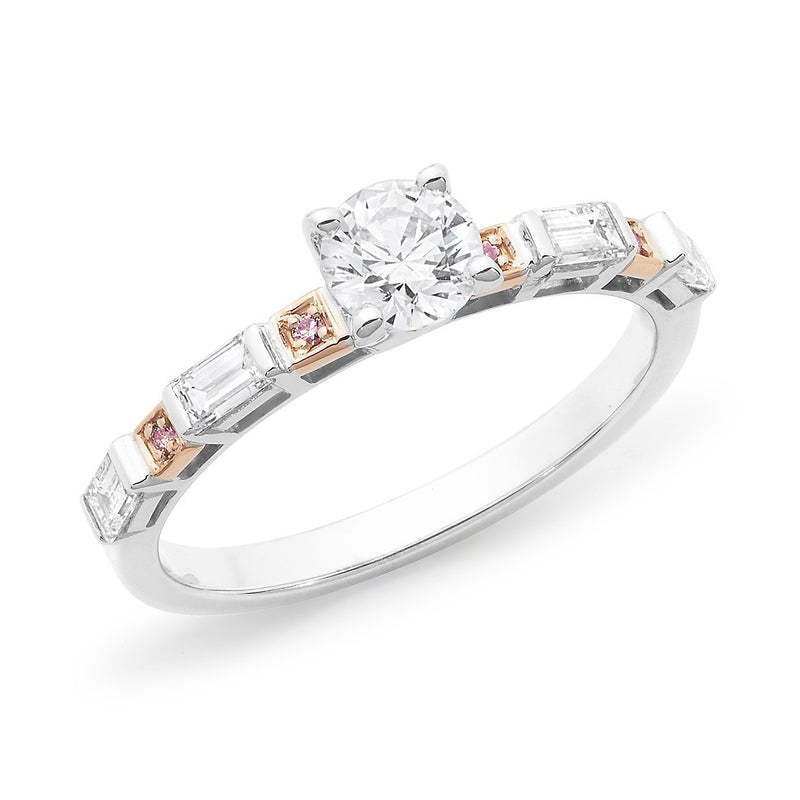 PINK CAVIAR 0.92ct White Round Brilliant & Pink Diamond Engagement Ring in 18ct White Gold