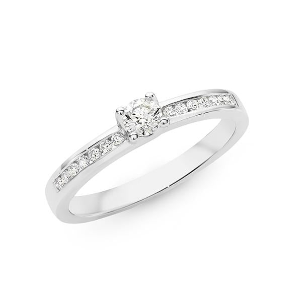 0.34ct Round Brilliant Cut Diamond Claw/Channel Set Engagement Ring in 9ct White Gold