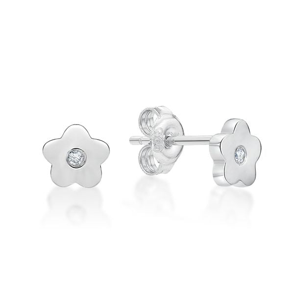 Sterling Silver Toon Flower Stud Earrings (white)