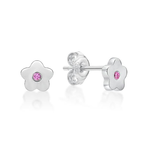 Sterling Silver Toon Flower Stud Earrings (pink)