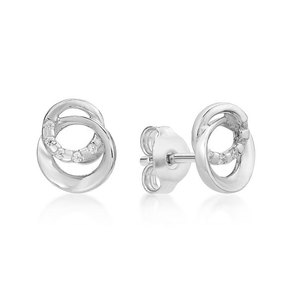 Sterling Silver Two Ring Stud Earrings