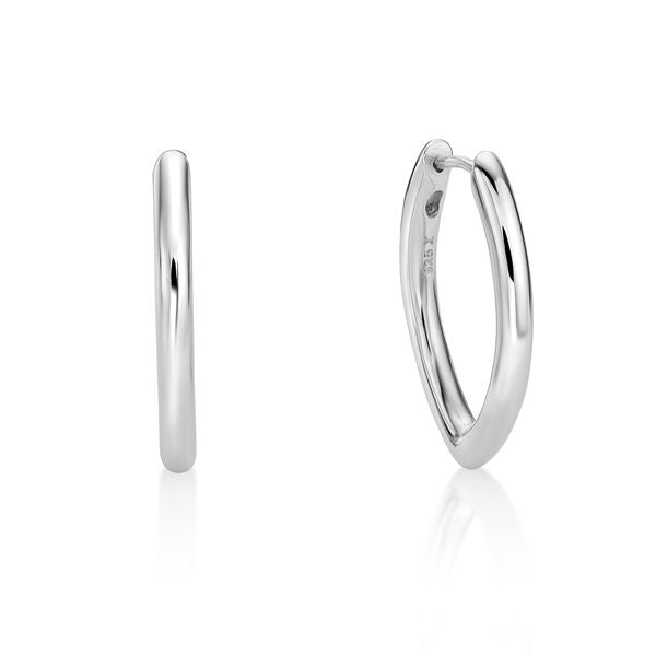 Sterling Silver Marquise Shaped Huggie Earrings