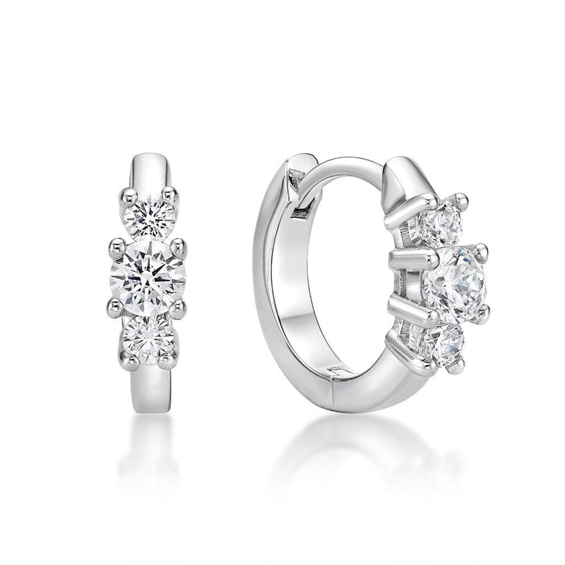 Sterling Silver 3 Stone Set Huggies