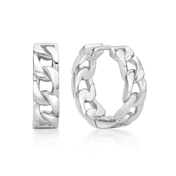 Sterling Silver Curb Link Huggies