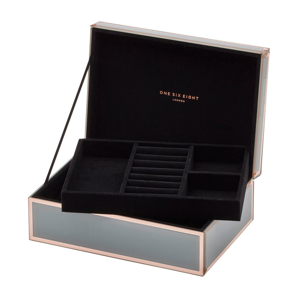 Florence Grey / Rose Gold Large Jewellery Box