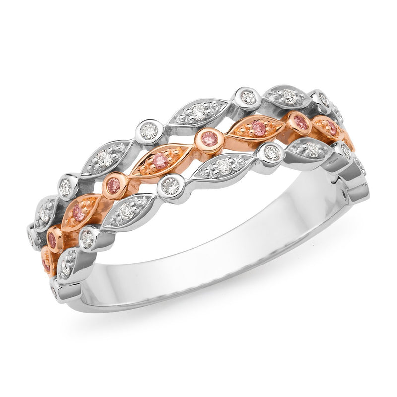PINK CAVIAR 0.165ct Pink Diamond Ring in 9ct White & Rose Gold