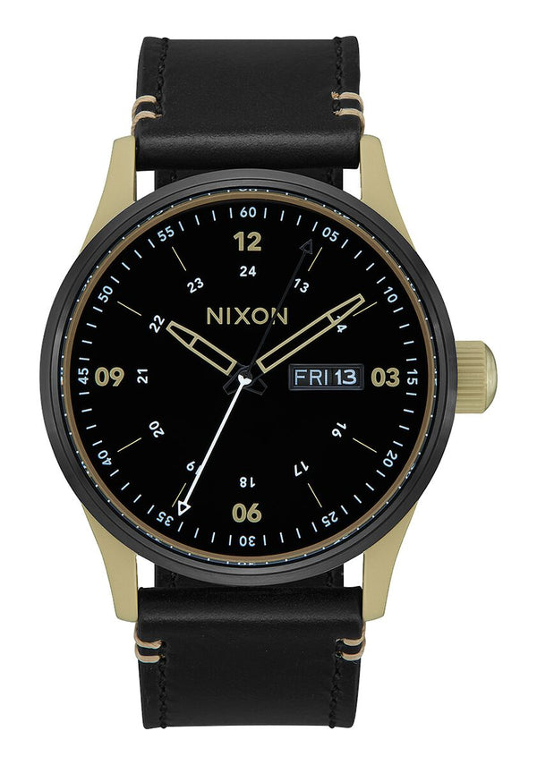 Nixon 42 mm Sentry Leather Watch Sand / Black