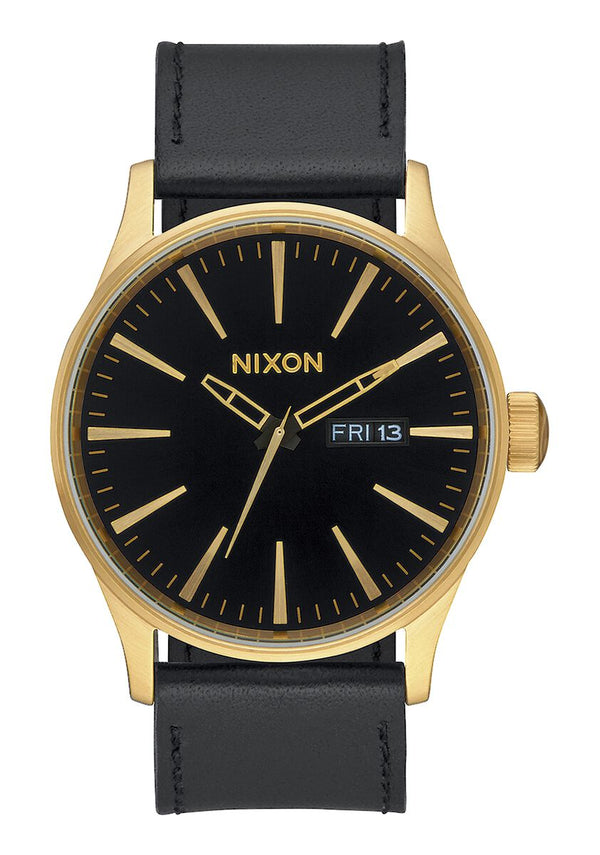 Nixon 42 mm Sentry Leather Watch Gold / Black