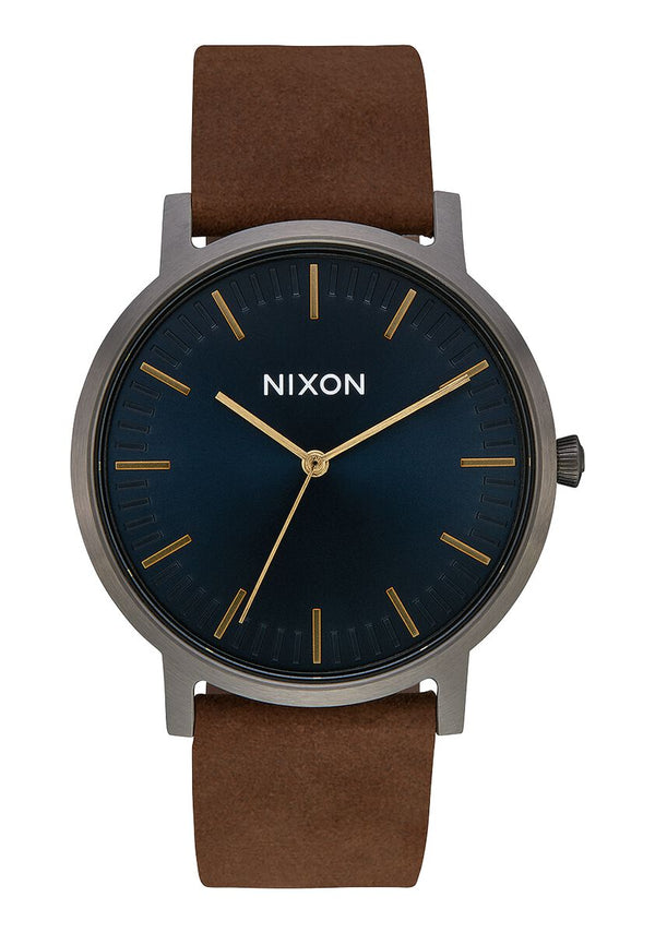 Nixon Porter Leather Gunmetal/ Indigo/ Brown Watch