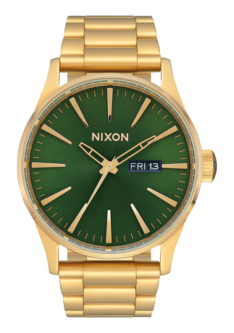 Nixon Sentry Stainless Steel Watch Gold / Green Sunray / HP Gold 42mm