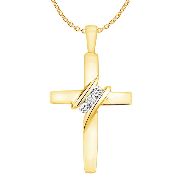 9ct Yellow Gold and Diamond Cross Pendant