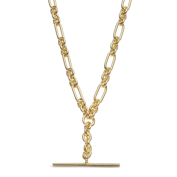 9ct yellow gold t-bar neckelet