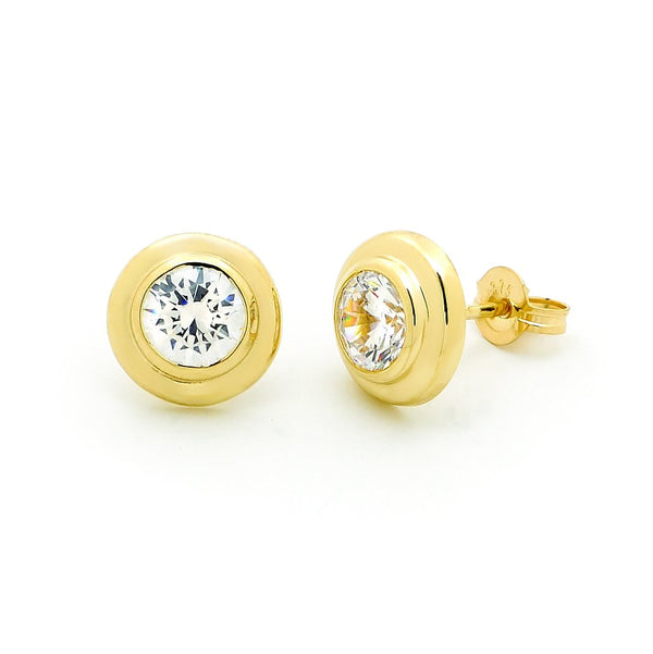 9ct yellow gold cubic zirconia stud earrings