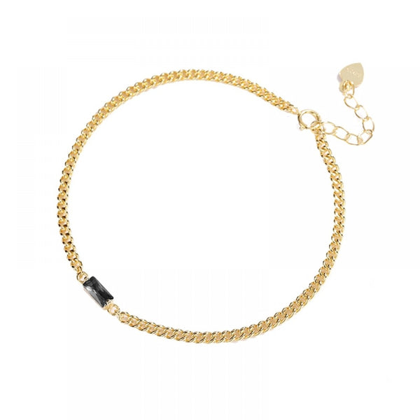 Gold Plated Stone Set Curb Link Bracelet