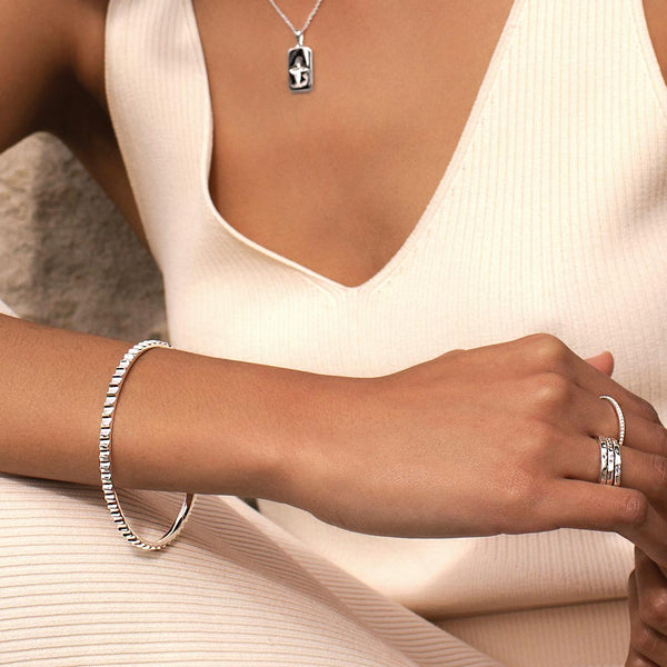 Murkani Sterling Silver Fluted Bangle