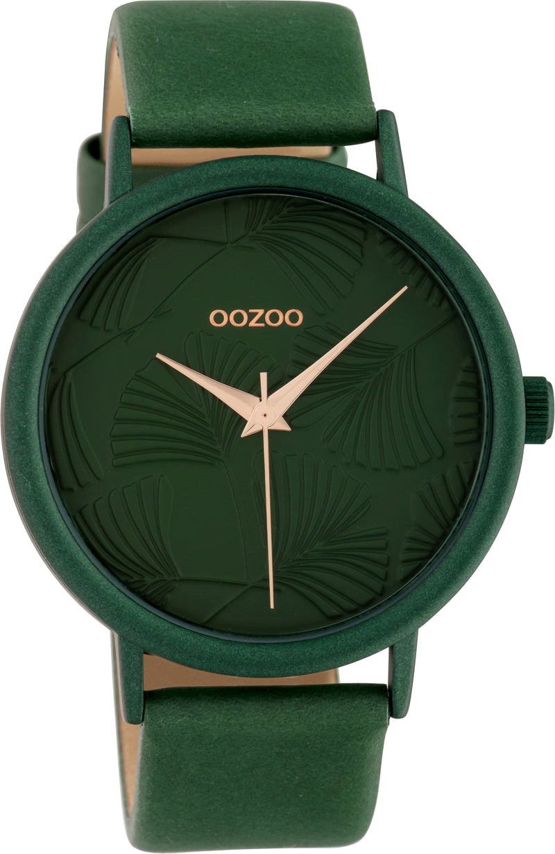 OOZOO 42mm Green Leather Watch