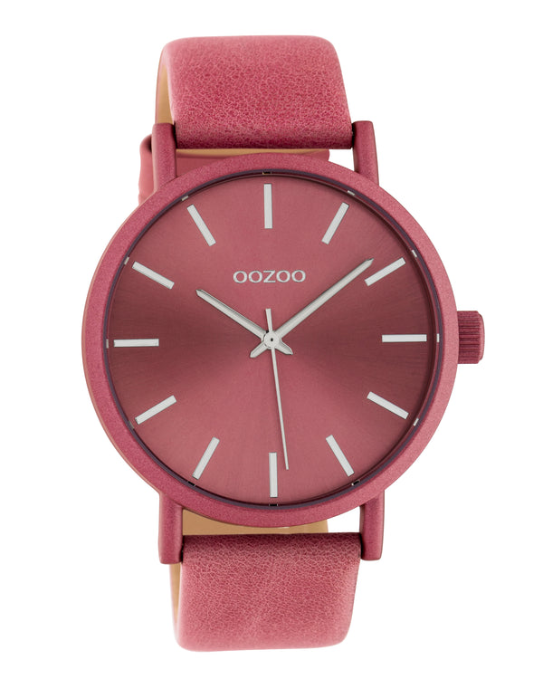 OOZOO 42mm Pink Leather Watch