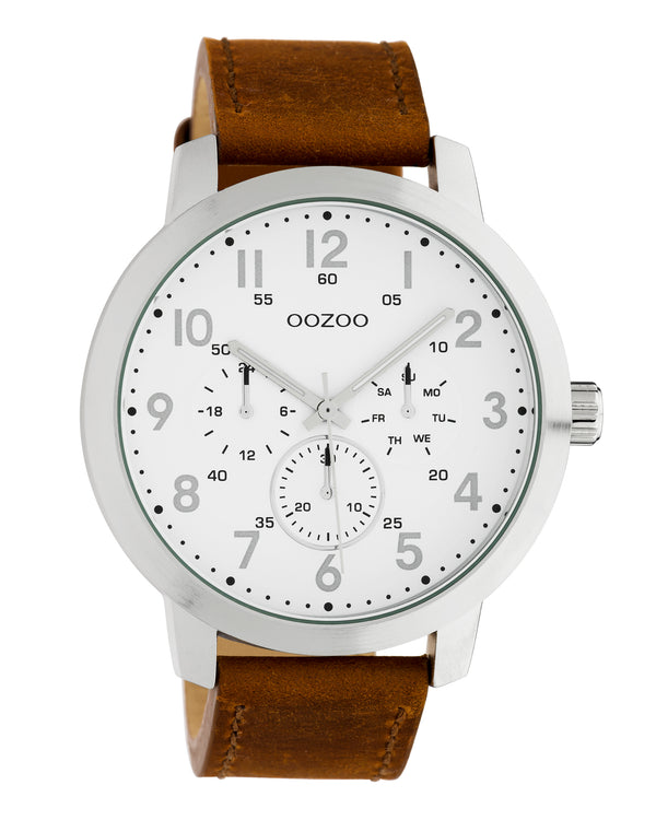 OOZOO 45mm Brown Leather Watch