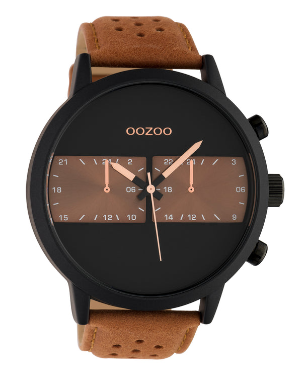 OOZOO 50mm Brown Leather Watch