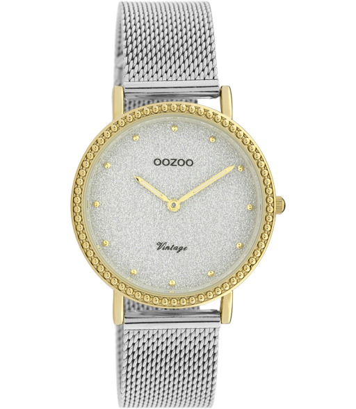 OOZOO Vintage Silver and Gold Sparkle Mesh Watch