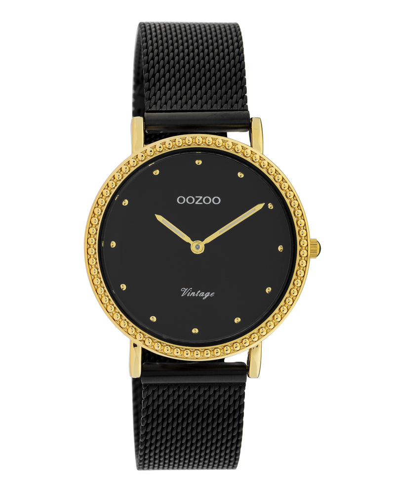 OOZOO 34mm Vintage Style Yellow Mesh Watch