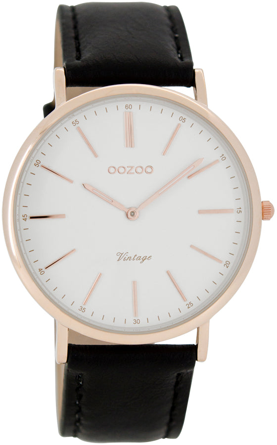 OOZOO 40mm Vintage Style Rose gold and Leather strap Watch