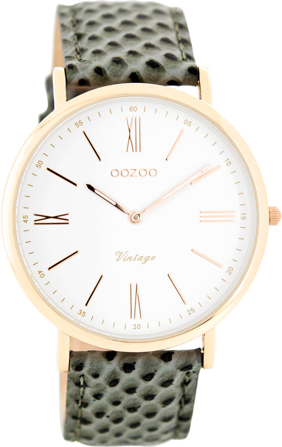 OOZOO 40mm Vintage Yellow gold and Leather Strap watch