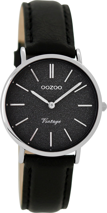 OOZOO 32mm Vintage Style Black Glitter Leather Watch