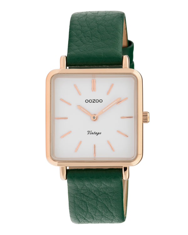 OOZOO Square Green Leather Watch