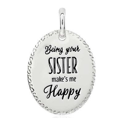 CANDID SS 25mm oval engraved scroll frame 'being your sister makes me happy'