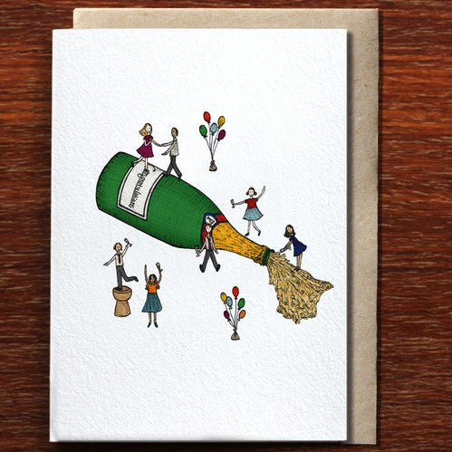 The Nonsense Maker Congratulations Champagne Party - Greeting Card