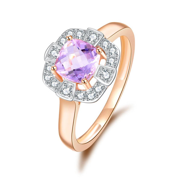 9Ct Rose Gold Pink Amethyst & 0.20Ct Diamond Ring