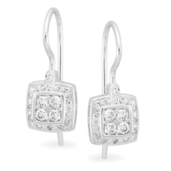 Bead Set Diamond Earrings in 9ct White Gold