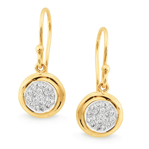Diamond Bead Set Shepherd Hook Earrings in 9ct Yellow Gold