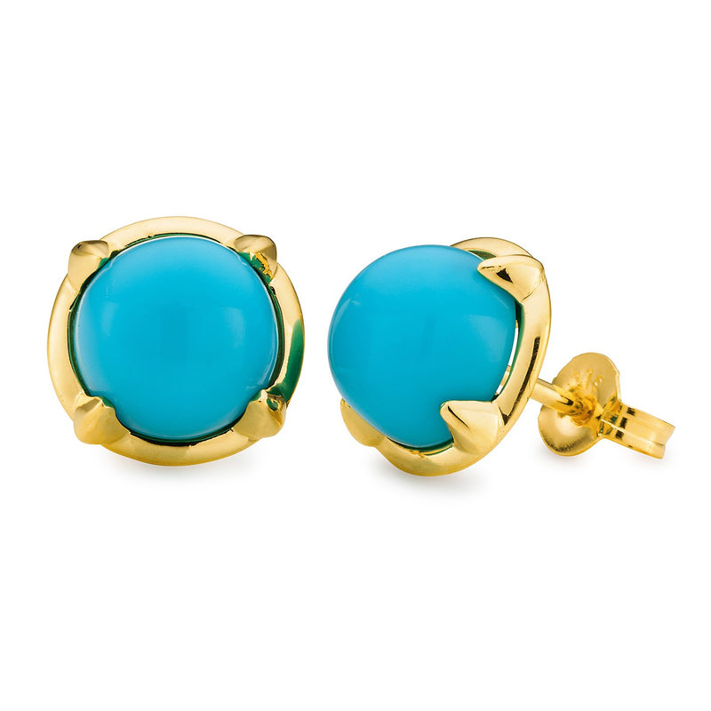Turquoise Reconstituted Claw Set Stud Earrings in 9ct Yellow Gold