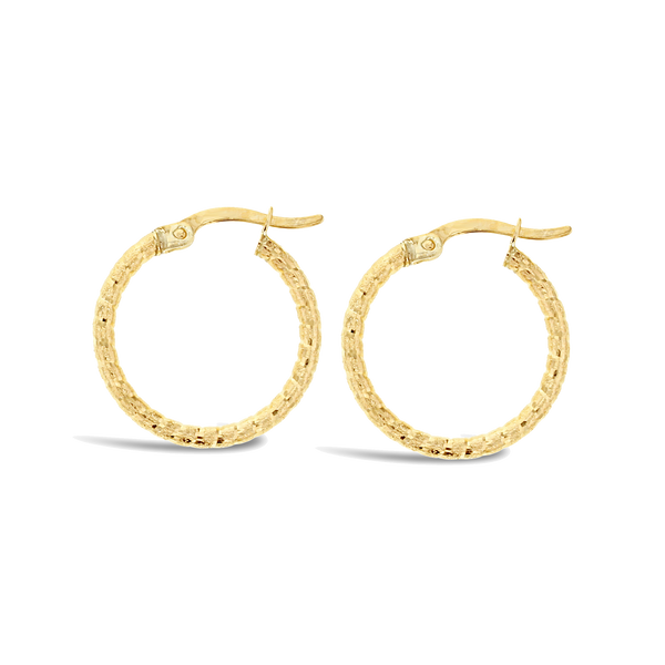 9ct Yellow Gold Mesh Hoops