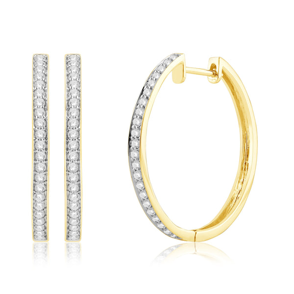 9ct Gold 0.50Ct Diamond Huggie Earrings